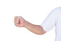 Ręka pokazuje pięść gest z ścinek ścieżką Obraz Stock