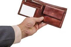 Ręka, portfel, biznes, skóra, pieniądze, nadgarstek, zakup, kryzys, sprzedaż, wekslowy tempo, finanse fotografia stock