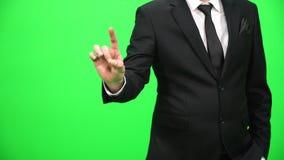 Ręka pracuje na holograficznym interfejsie Dotykać wizualnego ekran zbiory