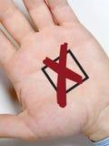 ręka przecinający znak Zdjęcie Royalty Free