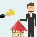 Ręka przedłużyć pieniądze w zamian za nieruchomość ilustracja wektor