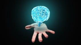 Ręka przedstawia przędzalnianego mózg zbiory