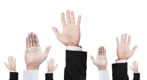Ręka różnicy kariery podnosić oddolny, odosobniona na białym tle obrazy stock