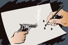 Ręka remisów obrazek Broń w ręce Malujący pistoletów krótkopędy ilustracja wektor