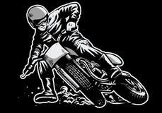 Ręka remis jedzie płaskiej szlakowej motocykl rasy mężczyzna ilustracja wektor