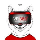 Ręka remisu Akita Inu portret Pies w rzeczywistość wirtualna szkłach Ręka remisu wektoru ilustracja Obrazy Royalty Free