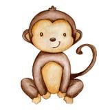 Ręka remisu akwareli małpa odizolowywająca royalty ilustracja