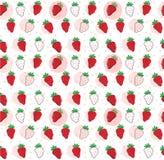 ręka remisu doodle truskawki wzór bezszwowy royalty ilustracja