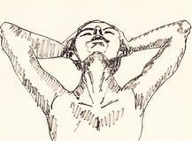 Ręka remisu dziewczyna ilustracji