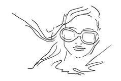 Ręka remisu kobiety twarz Z szkłami - nakreślenie ilustracji