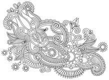 Ręka remisu kreskowej sztuki czarny i biały ozdobny kwiat Obraz Royalty Free