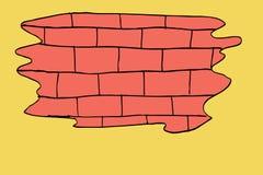 Ręka remisu nakreślenie, ściana z cegieł ilustracji
