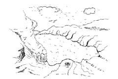 Ręka remisu nakreślenie ijen krater, banyuwangi, wschodni Java, Indonesia ilustracji