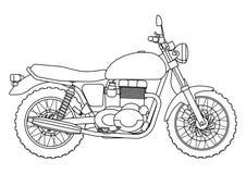 Ręka remisu styl wektorowa nowa motocykl ilustracja dla kolorystyki książki Obrazy Royalty Free