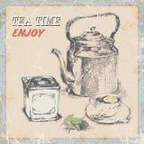 Ręka rocznika etykietki rysunkowa herbata również zwrócić corel ilustracji wektora Zdjęcie Stock