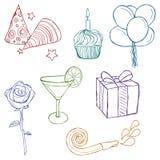 Ręka rysować urodzinowe ikony Obraz Royalty Free