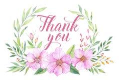 Ręka rysująca akwareli ilustracja Dziękuje ciebie karcianego z liśćmi royalty ilustracja