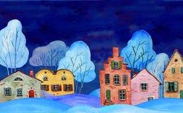 Ręka rysująca akwareli ilustracja Zimy nocy kraju krajobraz z starymi domami i drzewami ilustracji