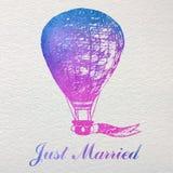 Ręka rysująca akwareli karta z lotniczym balonem Zdjęcie Royalty Free