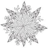Ręka rysująca artystyczna etniczna ornamentacyjna wzorzysta kwiecista rama w doodle stylu, dorosłe kolorystyk strony Obrazy Stock