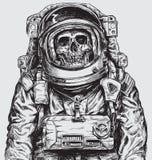 Ręka rysująca astronauta czaszka royalty ilustracja