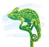 Ręka rysująca barwiąca doodle konturu kameleonu ilustracja Dekoracyjny w zentangle stylu Wzorzysty ognisty na grunge Obraz Royalty Free