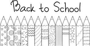 Ręka rysująca barwił ołówki z ręka rysującymi listami Z powrotem szkoła, dla projekta elementu i kolorystyki książki dla dzieciak ilustracja wektor