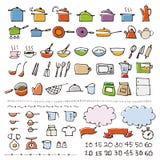 Ręka rysująca cookware nakreślenia ikona ilustracji