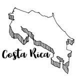 Ręka rysująca Costa Rica mapa ilustracja wektor