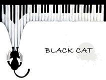 Ręka rysująca Czarnego kota chrobotliwy pianino ilustracja wektor