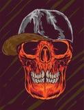 Ręka Rysująca czaszka z nakrętka wektoru ilustracją Fotografia Stock