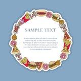 Ręka rysująca dekoracyjna rama z fastem food Obrazy Royalty Free