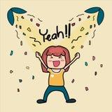 Ręka rysująca doodle śliczna dziewczyna jest bardzo szczęśliwym saying yeah ilustracja wektor