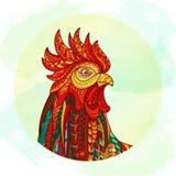Ręka rysująca doodle konturu koguta ilustracja Obrazy Royalty Free