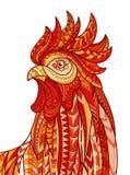 Ręka rysująca doodle konturu koguta ilustracja Wzorzysty ognisty na białym tle Symbol chiński nowy rok 2017 ilustracji