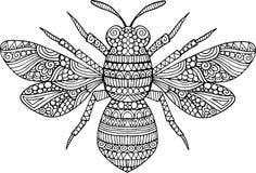 Ręka rysująca doodle pszczoły ilustracja ilustracji