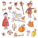 Ręka rysująca doodle wektorowa kolekcja Halloween elementy: kostiumy Zdjęcia Royalty Free
