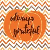 Ręka rysująca dziękczynienie jesieni karta z banią na zygzakowatym tle Zdjęcia Royalty Free