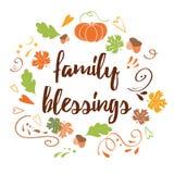 Ręka rysująca dziękczynienie karta z dyniowego liścia klonowego teksta Rodzinnym błogosławieństwem Obraz Stock