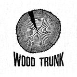Ręka rysująca etykietka z textured drzewnego bagażnika wektorową ilustracją i literowaniem Zdjęcia Stock