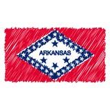 Ręka Rysująca flaga państowowa Arkansas Odizolowywał Na Białym tle Wektorowa nakreślenie stylu ilustracja ilustracja wektor