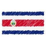 Ręka Rysująca flaga państowowa Costa Rica Odizolowywał Na Białym tle Wektorowa nakreślenie stylu ilustracja ilustracja wektor