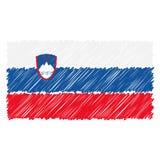 Ręka Rysująca flaga państowowa Slovenia Odizolowywał Na Białym tle Wektorowa nakreślenie stylu ilustracja ilustracji