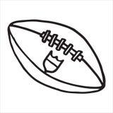 Ręka Rysująca futbol amerykański piłka na białym tle ilustracji