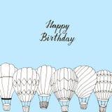 Ręka rysująca gorące powietrze baloons urodzinowa karta royalty ilustracja