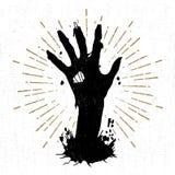 Ręka rysująca Halloweenowa etykietka z textured wektorową ilustracją ilustracji