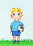 Ręka rysująca ilustracja chłopiec Europejski gracz futbolu kolorów ołówkami Obraz Royalty Free