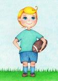 Ręka rysująca ilustracja chłopiec futbolu amerykańskiego gracz kolorów ołówkami Zdjęcie Royalty Free