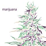 Ręka rysująca ilustracja marihuana Obrazy Stock