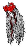 Ręka rysująca ilustracja piękny długowłosy Obraz Royalty Free